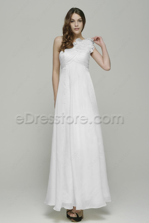 One shoulder white maternity beach wedding dresses for for White maternity wedding dress