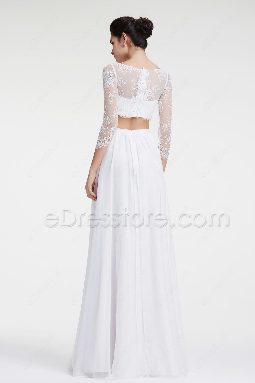 2 Piece Beach Wedding Dresses : Lace boho wedding dresses two piece beach dress long sleeves