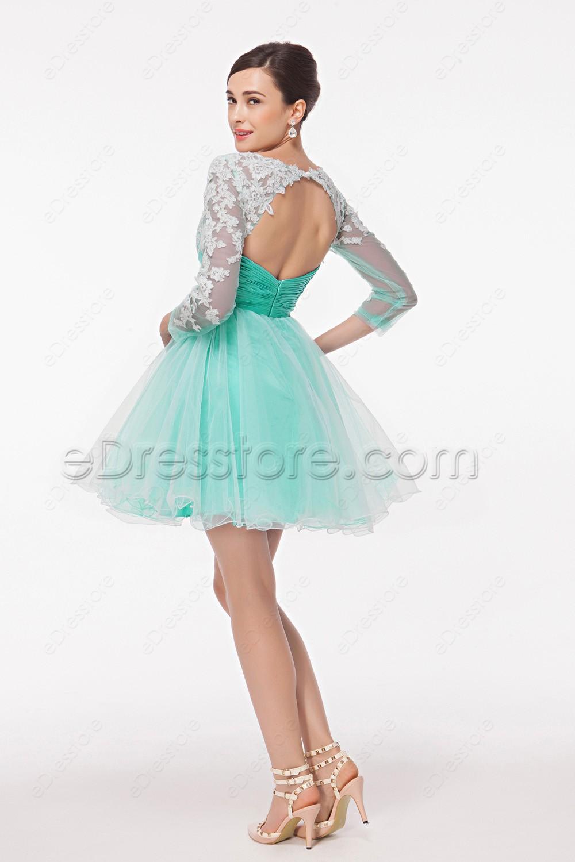 Modest Mint Green Backless Short Prom Dresses Long Sleeves