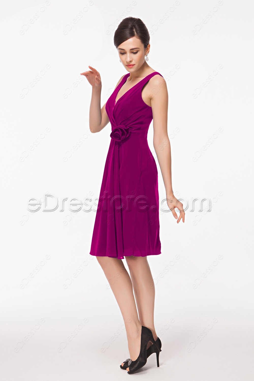 V neck magenta knee length bridesmaid dresses for Knee length fitted wedding dresses
