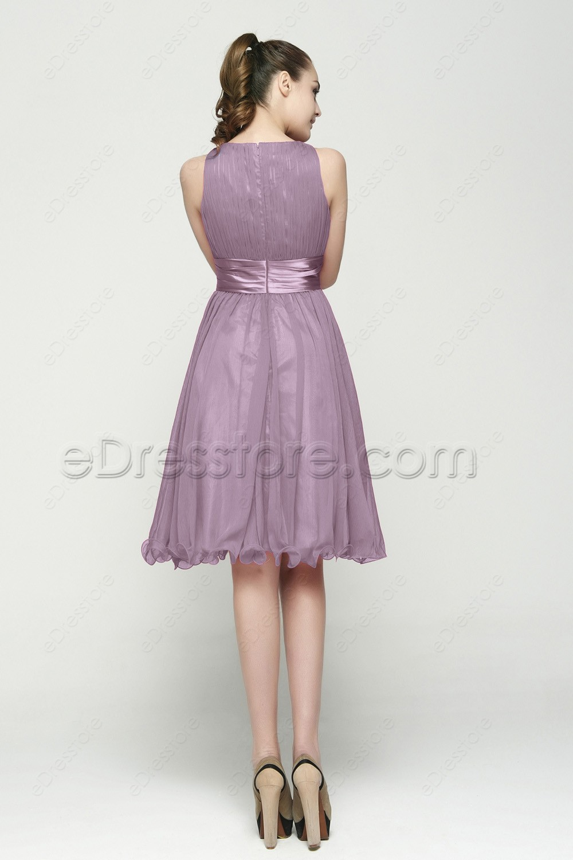 Lavender Modest Prom Dresses T Length
