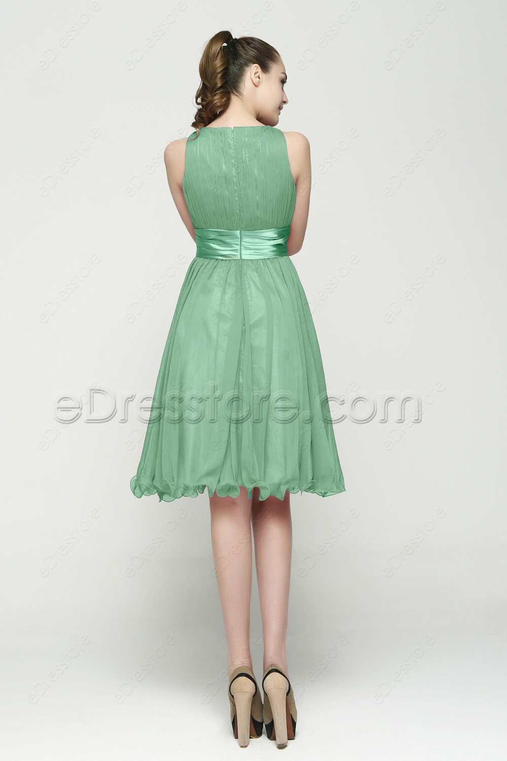 Modest pastel green bridesmaid dresses tea length for Pastel green wedding dress