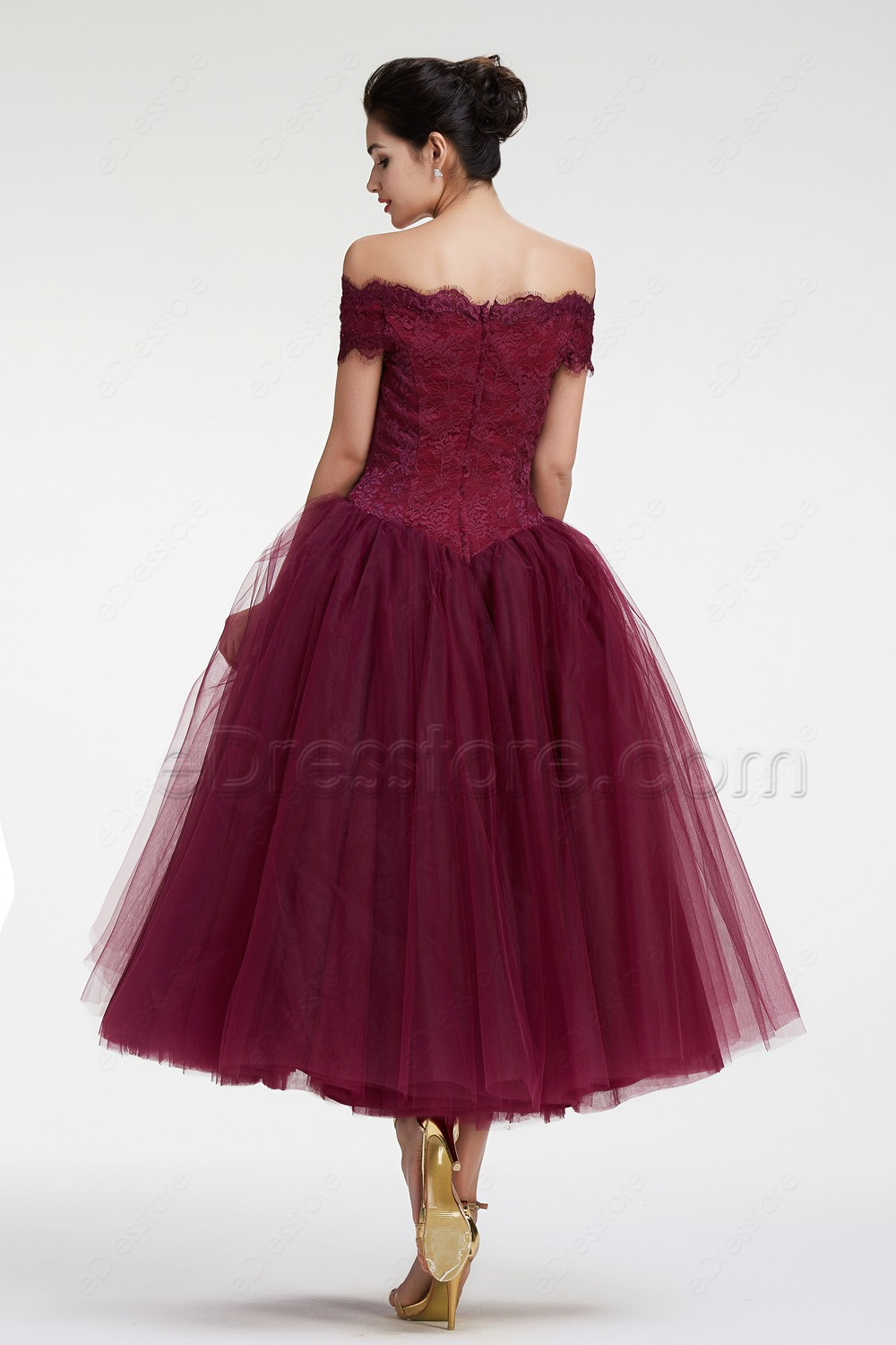 Burgundy Off the Shoulder Ball Gown VIntage Prom Dresses Tea Length