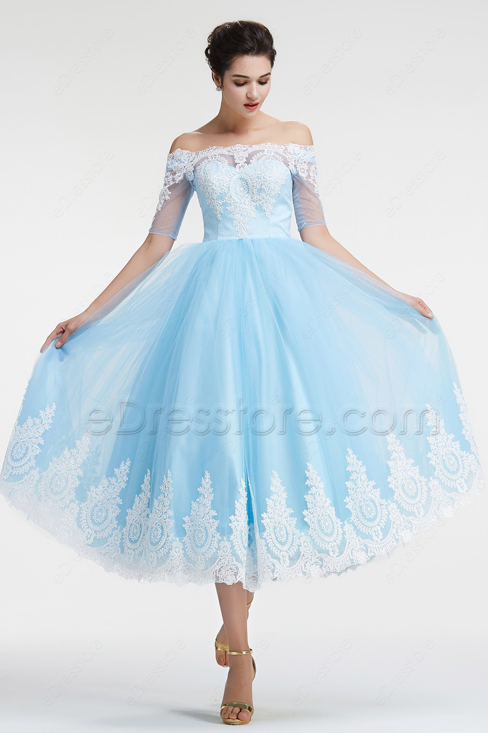 Blue off the shoulder vintage prom dresses with sleeves ombrellifo Choice Image