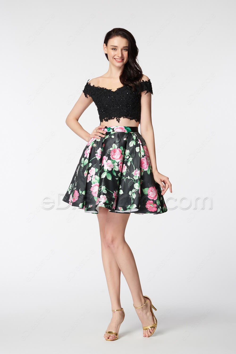 Floral Short Prom Dresses Off The Shoulder Two Piece Prom Dress