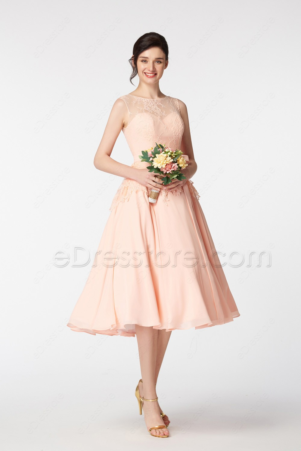 Blush lace bridesmaid dresses tea length with sash for Tea length wedding dresses online