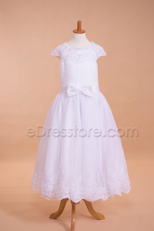 Modest Lace Tea Length First Communion Dresses Cap Sleeves
