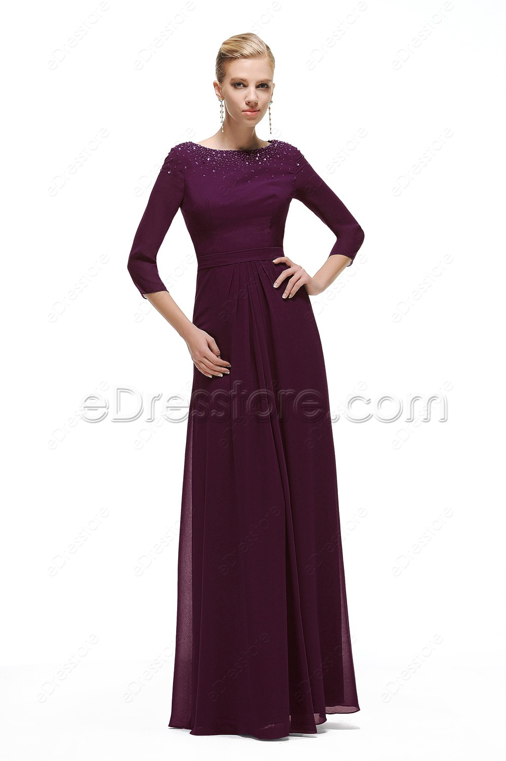 Navy blue chiffon bolero with short sleeve - Modest Eggplant Mother Of The Groom Dresses With Sleeves