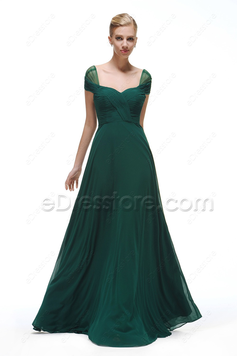 Cap sleeves forest green bridesmaid dresses long ombrellifo Images
