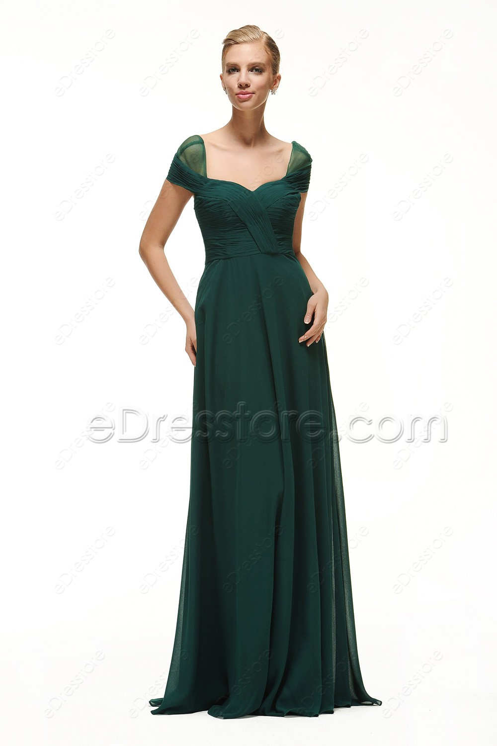 Cap sleeves forest green bridesmaid dresses long this is a made to order item in order to get a better fit lease take your measurements around bust waist and hip and choose your size from our size ombrellifo Image collections