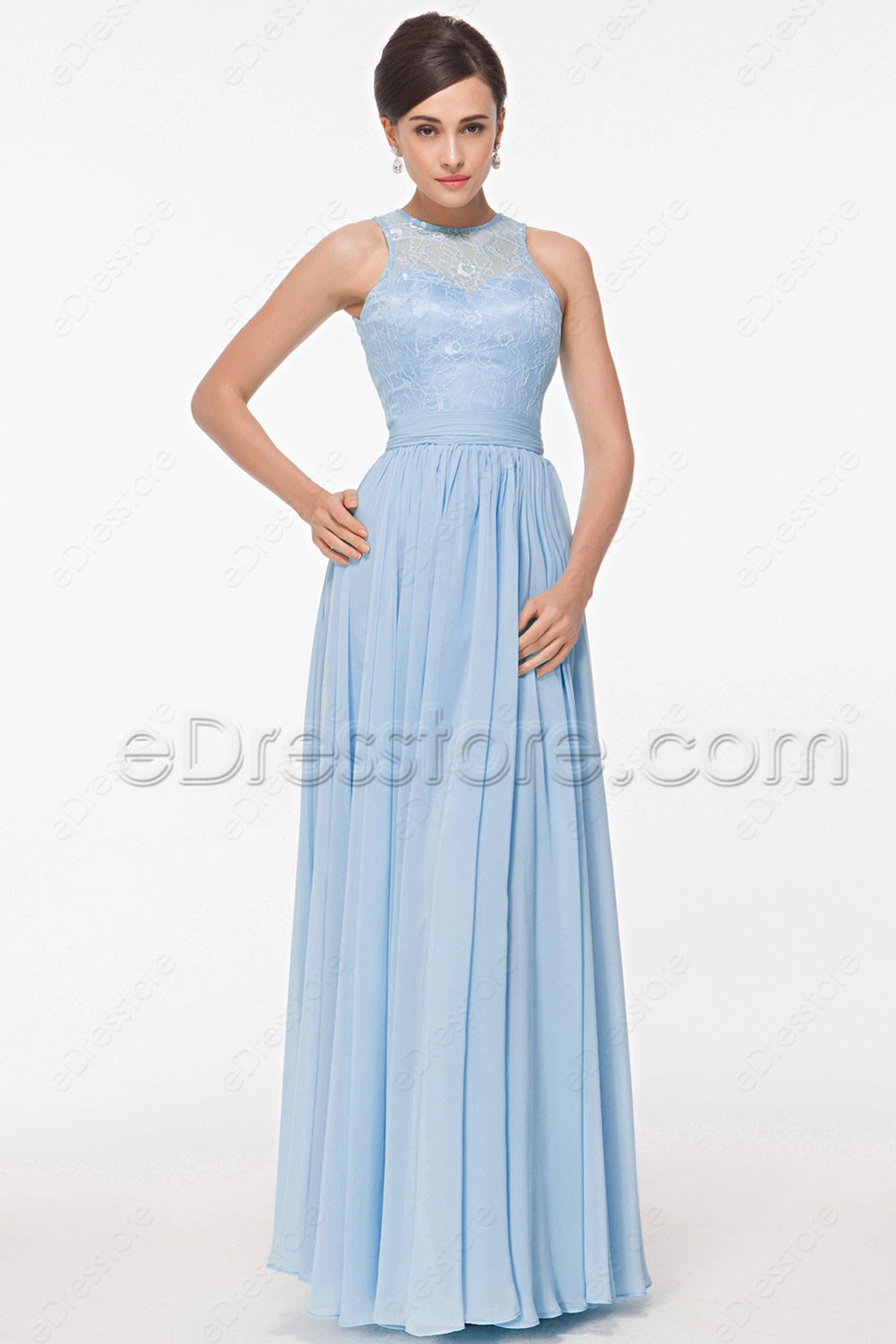 Lace light blue bridesmaid dresses key hole back for Light blue dress for wedding