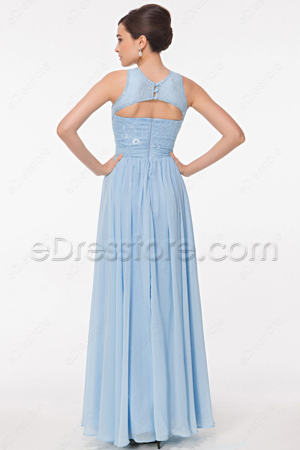 Lace light blue bridesmaid dresses key hole back this is a made to order item in order to get a better fit lease take your measurements around bust waist and hip and choose your size from our size ombrellifo Images