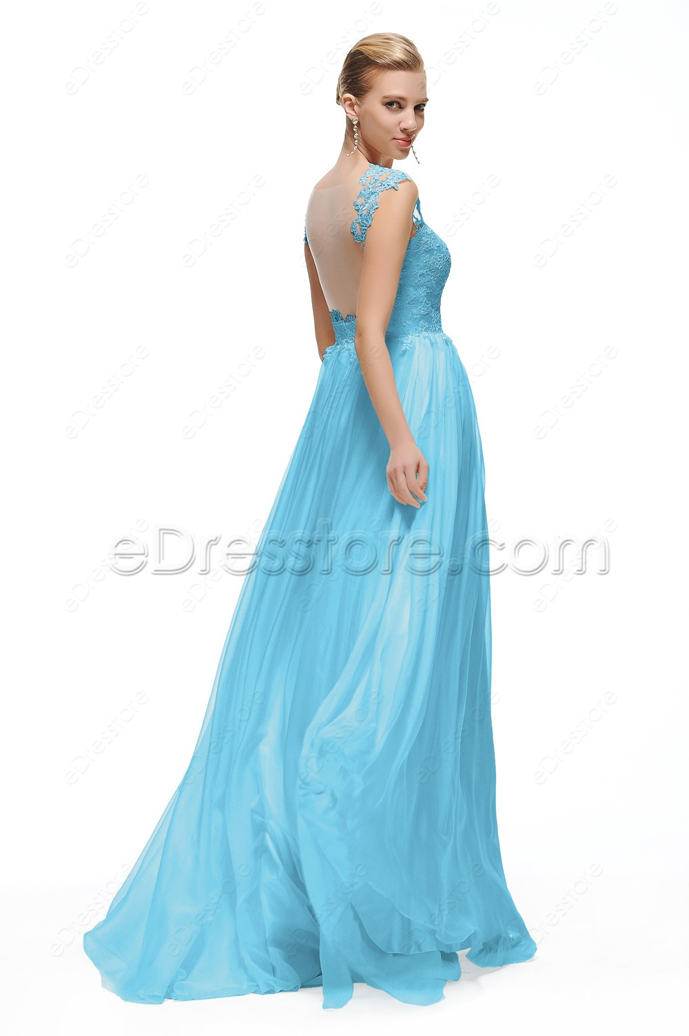 light blue lace backless prom dresses long