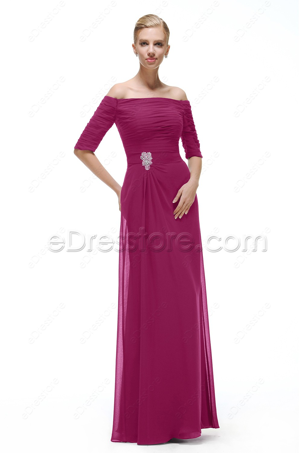 Magenta maid of honor dresses bridesmaid dress with sleeves for Maid of honor wedding dresses