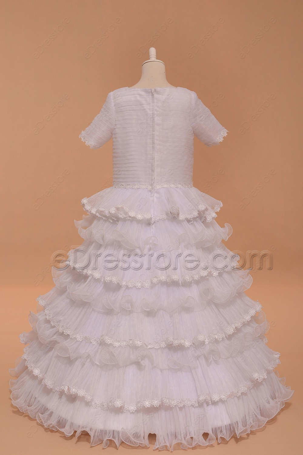 Modest tiered ball gown first communion dress with sleeves for Tiered wedding dress with sleeves