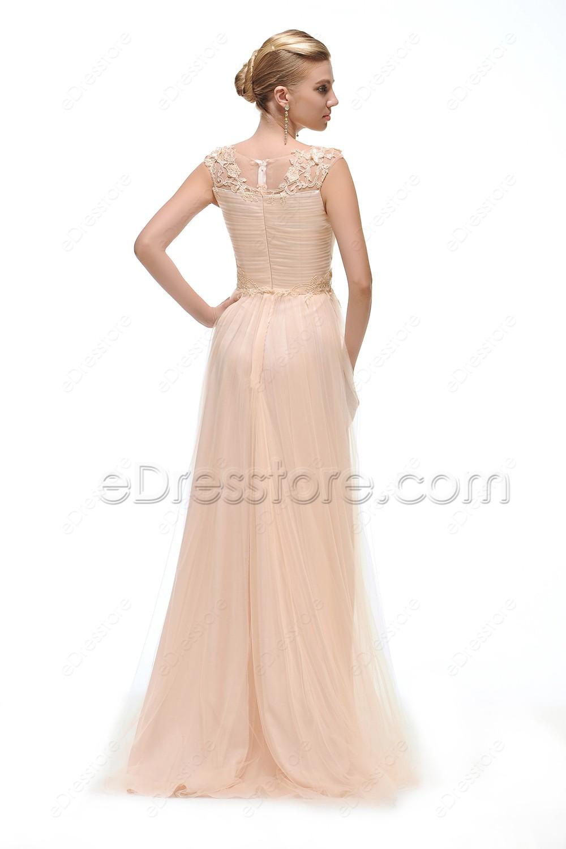 Peach Modest Bridesmaid Dresses Long