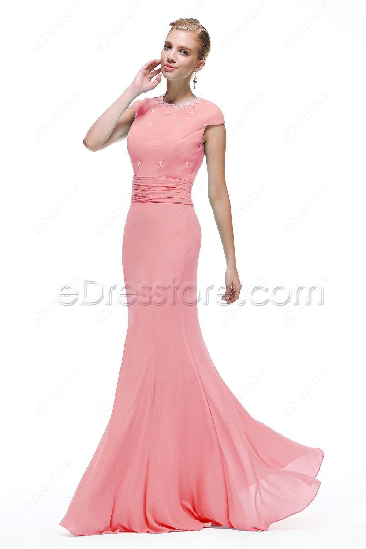 mermaid crystals modest pink prom dress cap sleeves