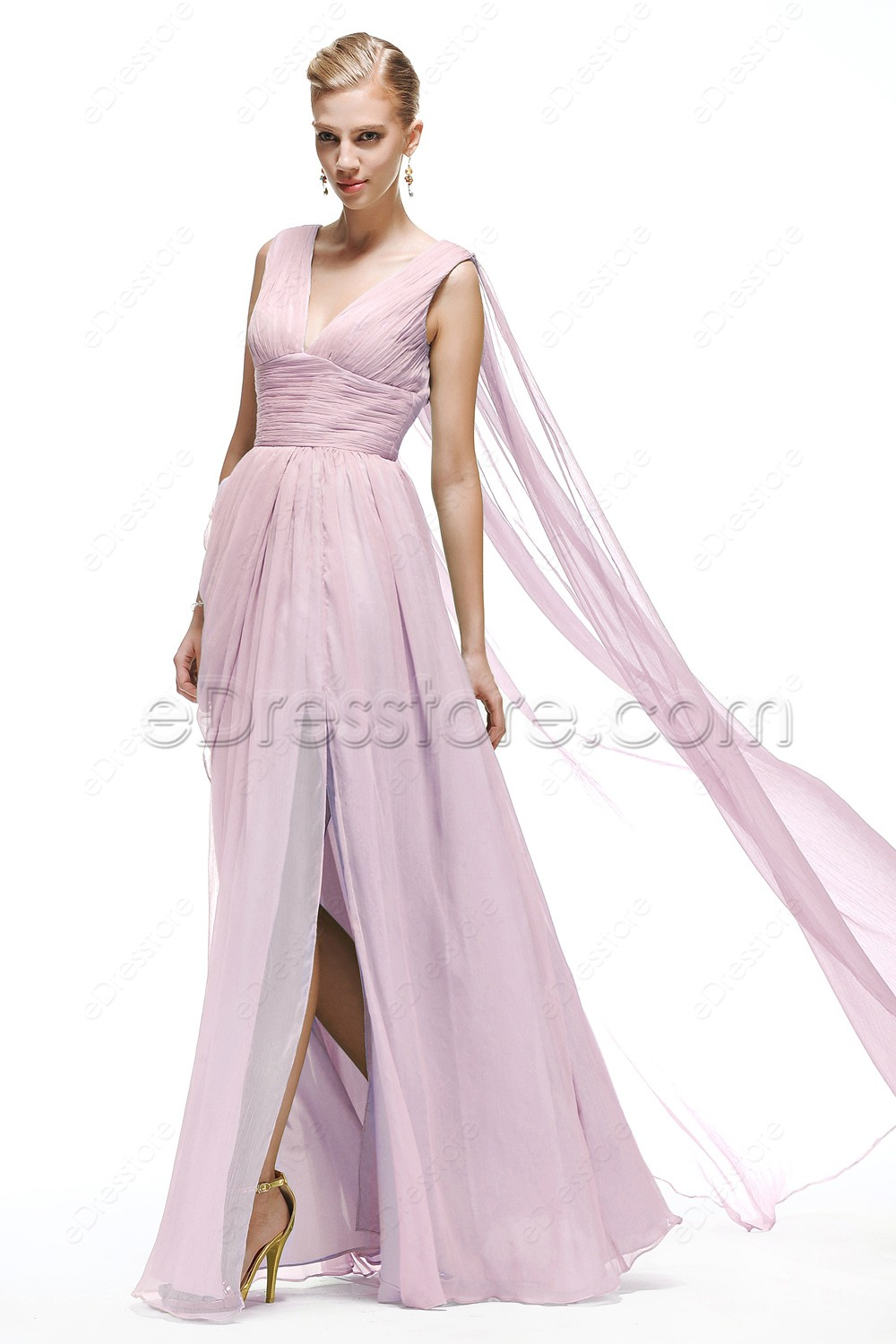 V neck pink bridesmaid dress maid of honor dresses this is a made to order item in order to get a better fit lease take your measurements around bust waist and hip and choose your size from our size ombrellifo Gallery