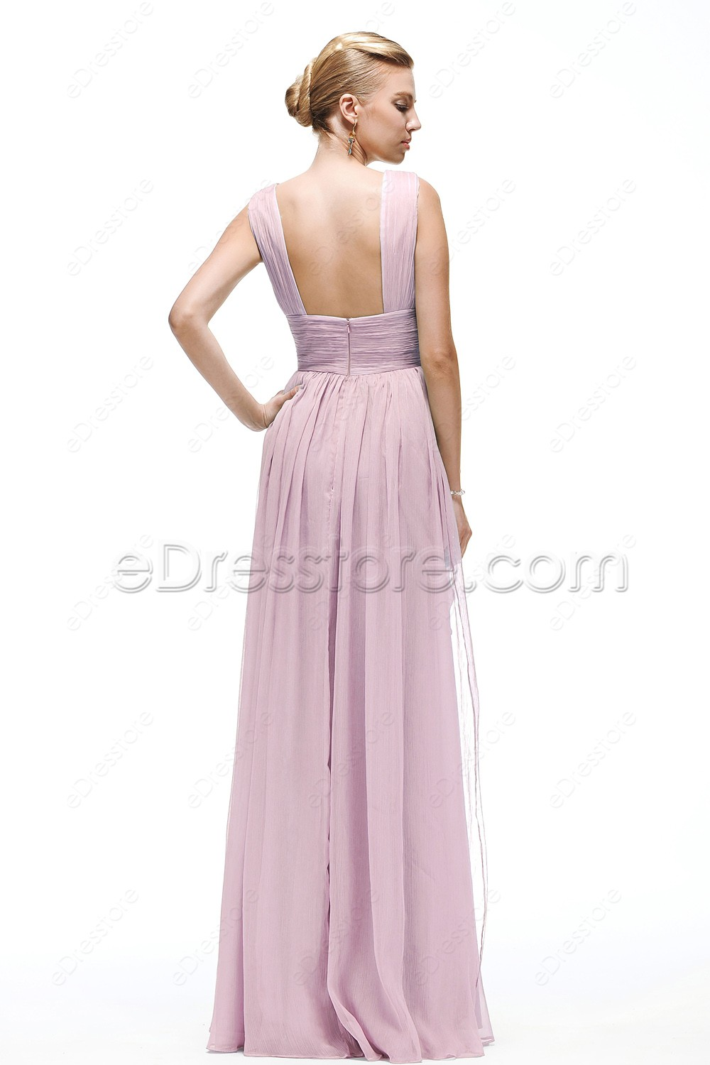 V neck pink bridesmaid dress maid of honor dresses for Maid of honor wedding dresses