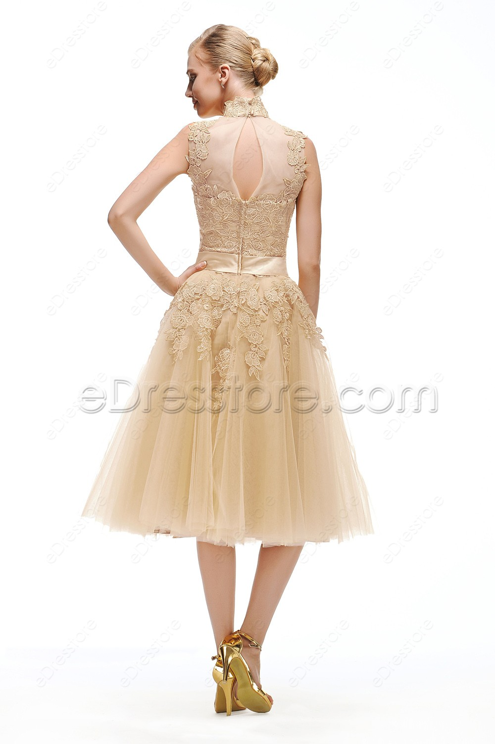 Champagne vintage bridesmaid dresses tea length for Champagne tea length wedding dresses