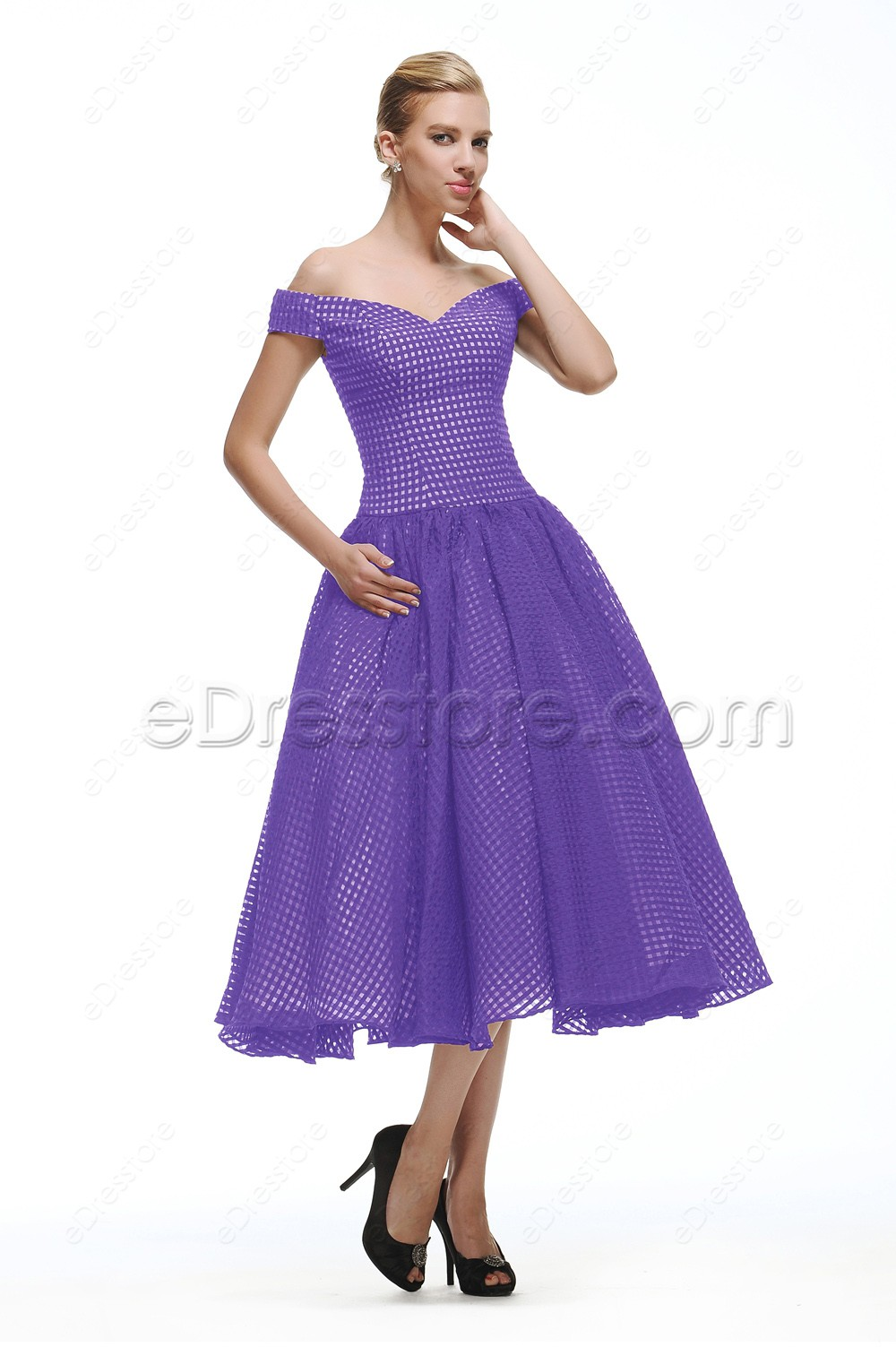 Off The Shoulder Vintage Lavender Cocktail Dress Tea Length