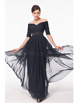 Modest Off the Shoulder Navy Blue Prom Dresses with Sleeves