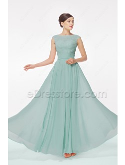 Lace Modest Dusty Green Bridesmaid Dress Capped Sleeves
