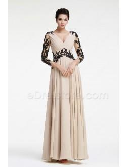 Modest Tan Color Bridesmaid Dresses Long Sleeves