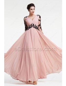 Modest Dusty Rose Prom Dresses Long Sleeves