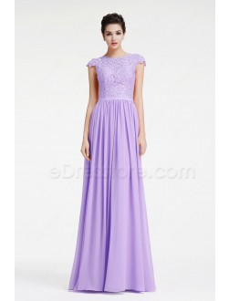 Light Lavender Modest Prom Dresses Long