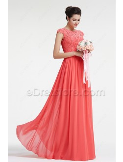 Modest Lace Coral Bridesmaid Dresses with Sleeves