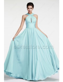 Light Blue Flowing Chiffon Long Prom Dresses