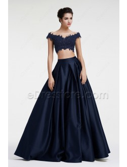 Navy blue Off the Shoulder Ball Gown Two Piece Prom Dress