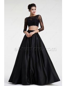Black Lace Two Pieces Prom Dresses Long Sleeves