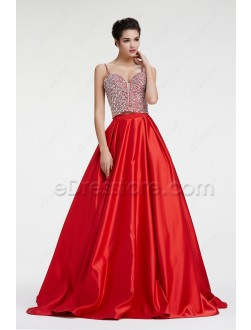 Crystal Beaded Sparkly Ball Gown Prom Dress Two Piece