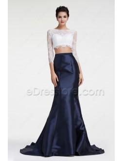 Navy Blue Two Piece Mermaid Prom Dress Long Sleeves