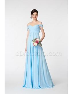 Light Blue Off the Shoulder Bridesmaid Dresses