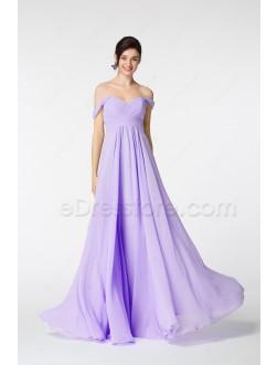 Off the Shoulder Lavender Long Prom Dresses