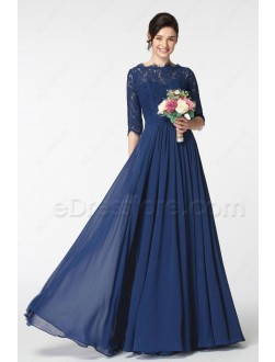Navy Blue Lace Modest Bridesmaid Dress with Sleeves
