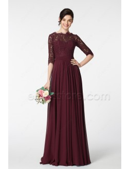 Modest Dark Burgundy Prom Dress Long Sleeves