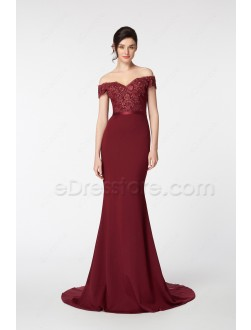 Off the Shoulder Mermaid Burgundy Prom Dresses Long