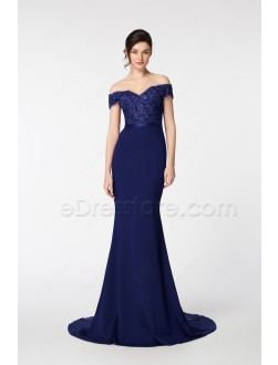 Navy Blue Mermaid Bridesmaid Dresses Off the Shoulder Gown