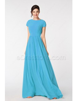 Sky Blue Modest Prom Dresses Long with Cap Sleeves