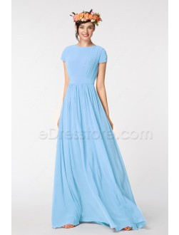 Light Blue Modest Prom Dresses Short Sleeves