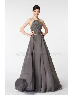 Halter Beaded Sparkle Backless Charcoal Grey Prom Dresses