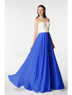 Royal Blue Backless Beaded Long Pageant Evening Dresses