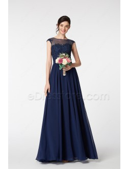 Navy Blue Modest Bridesmaid Dresses with Lace Appliques