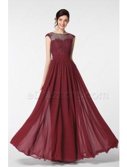 Modest Lace Burgundy Prom Dresses Long