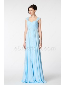 Sweetheart Light Blue Bridesmaid Dresses with Straps