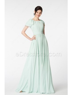 Soft Duck Egg Green Modest Bridesmaid Dresses with Sleeves